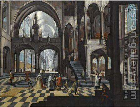 Interior Of A Gothic Church With Elegant Figures And Clerics by Flemish School - Reproduction Oil Painting