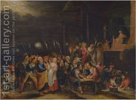 The Denial Of Saint Peter, Christ Led Before Caiaphas In The Background by (after) Cornelis De Baellieur I - Reproduction Oil Painting