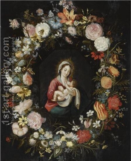 The Virgin And Child In A Garland Of Roses, Forget-Me-Nots, Daisies, Snowdrops, A Lily, A Parrot Tulip And Other Flowers by Isaac Cruikshank - Reproduction Oil Painting