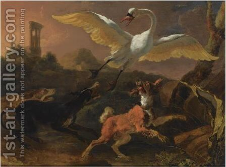 Three Hounds Chasing A Swan In A Landscape, A View Of A Ruin Beyond by Abraham Danielsz Hondius - Reproduction Oil Painting