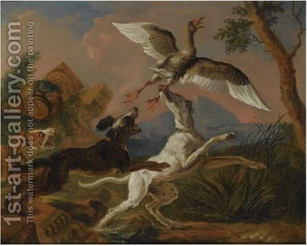 Three Hounds Chasing A Nesting Wild Goose In A Hilly Landscape by Abraham Danielsz Hondius - Reproduction Oil Painting