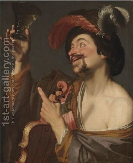 A Merry Violinist Holding A Roemer 2 by (after) Honthorst, Gerrit van - Reproduction Oil Painting
