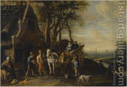 Travellers In A Horse-Drawn Wagon And Other Figures Outside An Inn, A View Of Delft With The Oude And Nieuwe Kerk Beyond by Anthonie Palamedesz. (Stevaerts, Stevens) - Reproduction Oil Painting