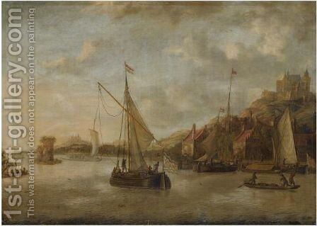 A Dutch Harbour Scene With Sailing Vessels And Other Shipping Near The Coast, With Numerous Figures On The Quayside, A View Of A Castle Beyond by Jacobus Storck - Reproduction Oil Painting