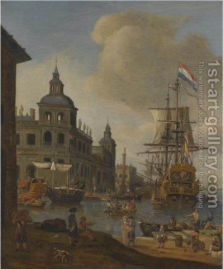 A Capriccio View Of A Mediterranean Harbour With A Dutch Merchant Ship, Elegant Figures On The Quay And Men Unloading Their Ware In The Foreground by (after) Abraham Storck - Reproduction Oil Painting