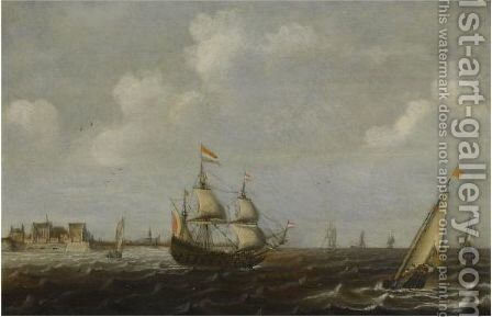 A Dutch Threemaster And Other Shipping In Choppy Waters, A View Of Fort Rammekens Off The Coast Of Vlissingen In The Background by Claes Claesz Wou - Reproduction Oil Painting