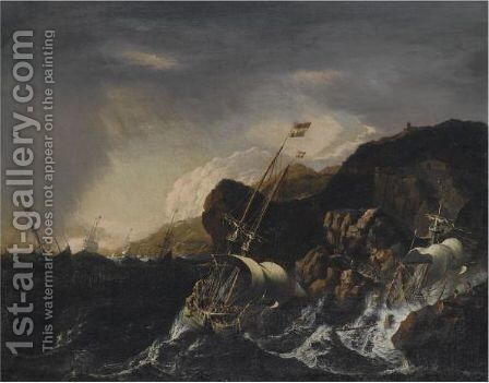 Shipping In A Heavy Storm Along A Rocky Coast, A Shipwreck In The Foreground, Figures Coming To The Rescue On The Shore by (after) Mattthieu Van Plattenberg - Reproduction Oil Painting