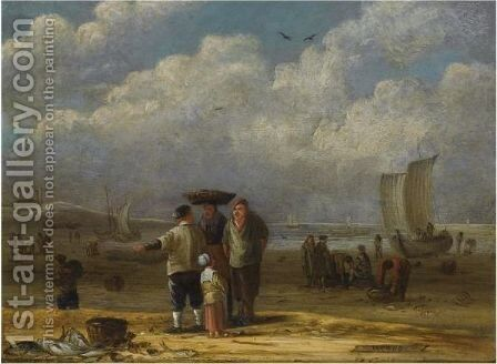 Fishermen And Women Conversing On The Beach, Other Fishermen Unloading Their Catch In The Background by Cornelis van de Velde - Reproduction Oil Painting