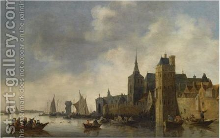 A River Landscape With Fishermen In Small Vessels Near The City Of Antwerp, With A Church Tower On The Right, Sailing Boats In The Background by (after)  Jan Van Goyen - Reproduction Oil Painting
