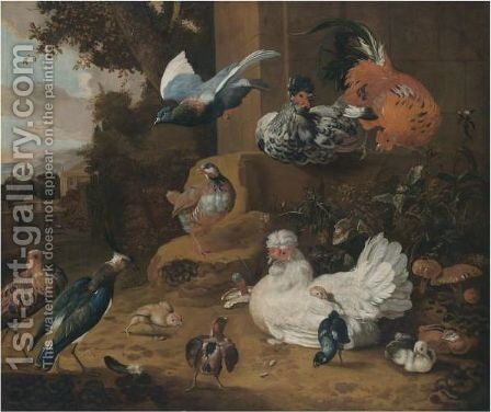 Hens, Chickens, A Pigeon And A Lapwing In A Garden Landscape by (after) Melchior De Hondecoeter - Reproduction Oil Painting