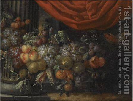 A Garland Of Blue And White Grapes, Peaches, Oranges, Lemons And Prunes, Figs, Corn And Chestnuts by Jan Pauwel II the Younger Gillemans - Reproduction Oil Painting