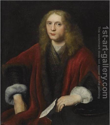 Portrait Of A Gentleman, Probably Johannes Van Zell (Born Circa 1620) by Abraham van Dijck - Reproduction Oil Painting