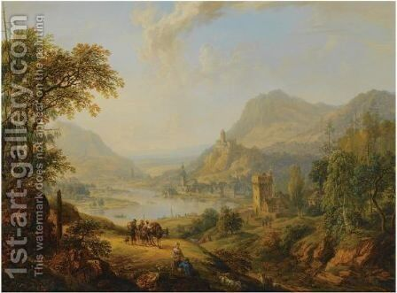 An Extensive Rhenish Landscape With Shepherds And Travellers Resting On A Path In The Foreground, A View Of A Castle And A Village Beyond by Christian Georg II Schutz or Schuz - Reproduction Oil Painting