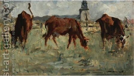 Vaches Au Paturage by Edouard Manet - Reproduction Oil Painting