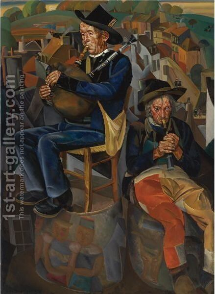 Binious (Pipe Players) by Boris Dmitrievich Grigoriev - Reproduction Oil Painting