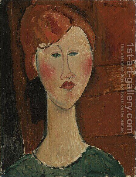 Femme Aux Cheveux Rouges by Amedeo Modigliani - Reproduction Oil Painting