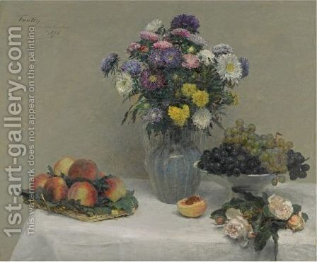 Fleurs Et Fruits by Ignace Henri Jean Fantin-Latour - Reproduction Oil Painting