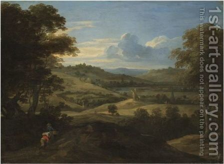 An Extensive Landscape With Travellers In The Foreground by Jacques Fouquieres - Reproduction Oil Painting