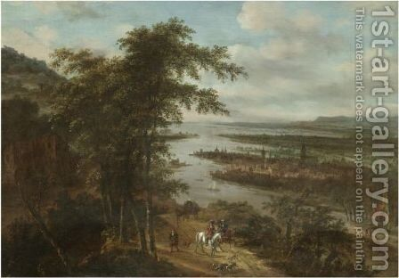 An Extensive River Landscape With Huntsmen In The Foreground, A Town Beyond by Dionys Verburgh - Reproduction Oil Painting