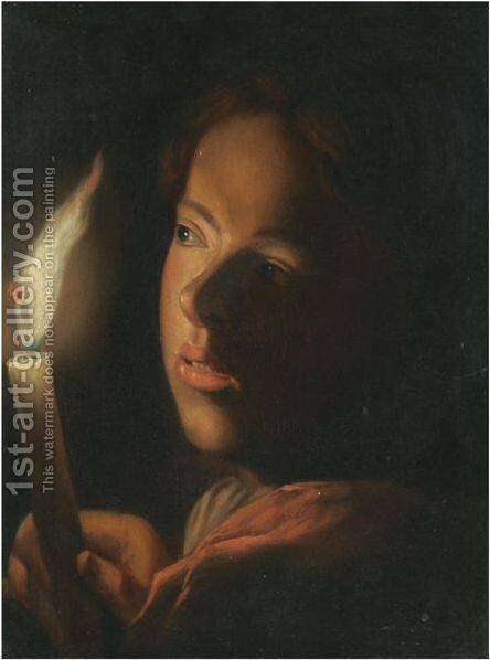 A Boy With A Candle by (after) Godfried Schalcken - Reproduction Oil Painting