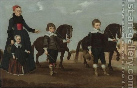 A Lady With Her Daughter And Two Sons And Their Pet Ponies by Dutch School - Reproduction Oil Painting
