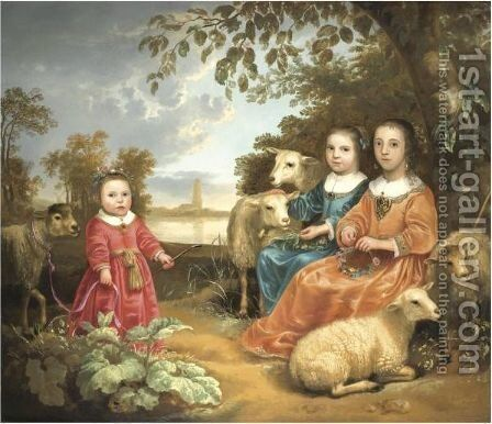 A Portrait Of Three Children In A River Landscape, The City Of Rhenen Beyond by Netherlandish School - Reproduction Oil Painting