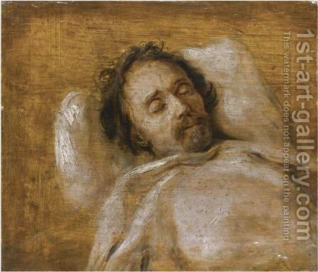Sketch Of A Man On His Deathbed by Antwerp School - Reproduction Oil Painting