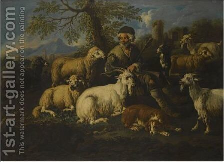 A Herder Resting With His Animals In A Landscape by Johann Melchior Roos - Reproduction Oil Painting
