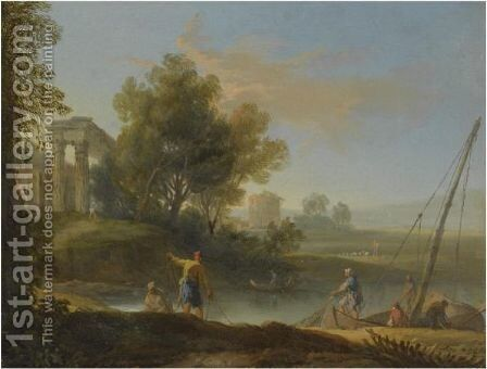 A Fluvial Landscape With Fishermen Unloading Their Nets, Classical Ruins Beyond by (after) Marco Ricci - Reproduction Oil Painting