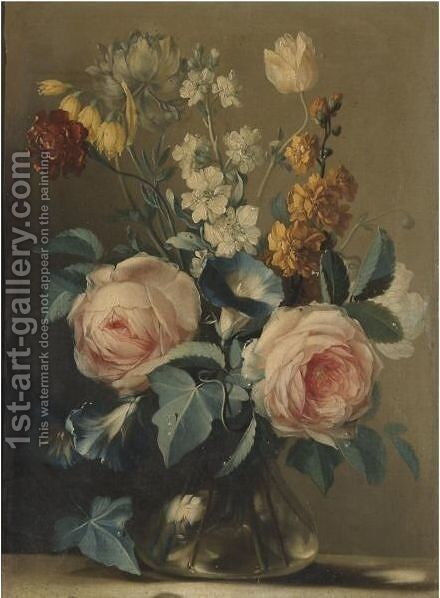 A Still Life With Roses And Other Flowers In A Glass Vase by (after) Ludovico Stern - Reproduction Oil Painting