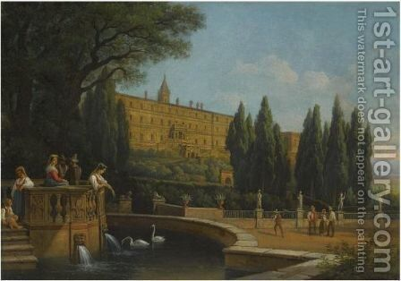 Tivoli, A View Of The Villa D'Este by Gustav Wilhelm Palm - Reproduction Oil Painting