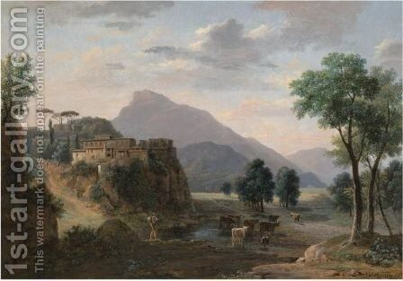 An Italianate Landscape With A Herder And His Cows Before A Hilltop Town by Jean-Victor Bertin - Reproduction Oil Painting