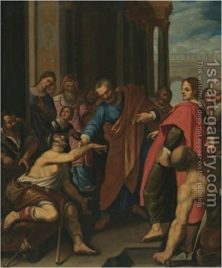 Saints Peter And John Healing A Cripple At The Gate Of The Temple by (after) Lodovico Cardi Cigoli - Reproduction Oil Painting
