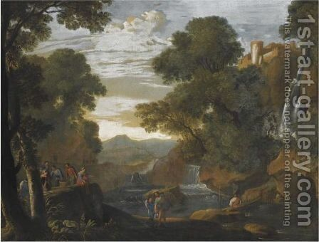 A Southern Landscape With Fishermen Unloading And Packing Their Catch by (after) Herman Van Swanevelt - Reproduction Oil Painting