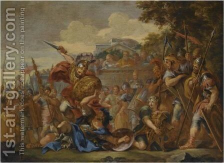 The Death Of Turnus by (after) Cortona, Pietro da (Berrettini) - Reproduction Oil Painting