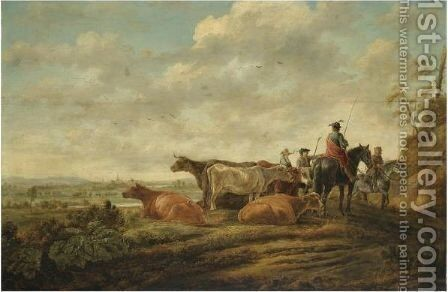 A Northern Landscape At Sunset With Herders And Their Cattle In The Foreground by (after) Aelbert Cuyp - Reproduction Oil Painting