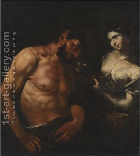 A Nymph And A Satyr by (after) Johann Karl Loth - Reproduction Oil Painting