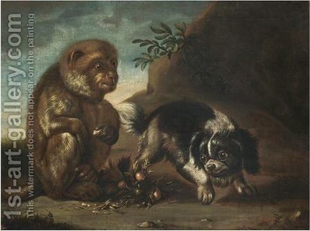 A Monkey Eating Hazelnuts With A Dog Prancing by David de Coninck - Reproduction Oil Painting