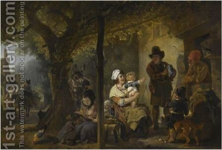 Figures Gathered Outside An Inn by Jean-Louis Demarne - Reproduction Oil Painting