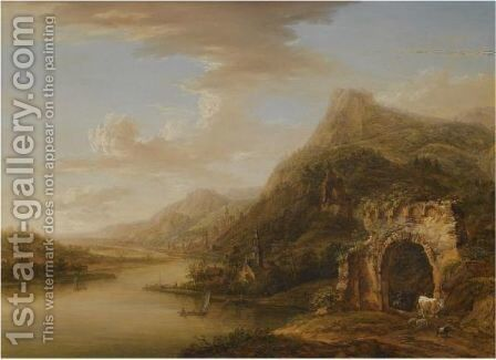 An Extensive Rhenish Landscape With A Ruined Arch In The Foreground by Christian Georg II Schutz or Schuz - Reproduction Oil Painting