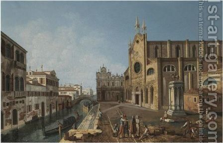 Venice, A View Of The Church Of Santi Giovanni E Paolo And The Statue Of Colleoni by (after) (Giovanni Antonio Canal) Canaletto - Reproduction Oil Painting