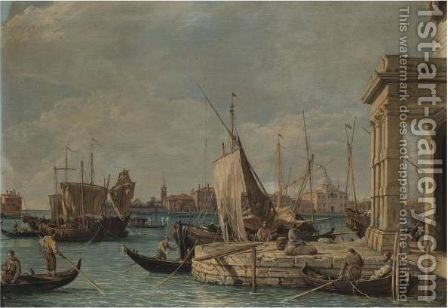 Venice, A View Of The Dogana by (after) (Giovanni Antonio Canal) Canaletto - Reproduction Oil Painting