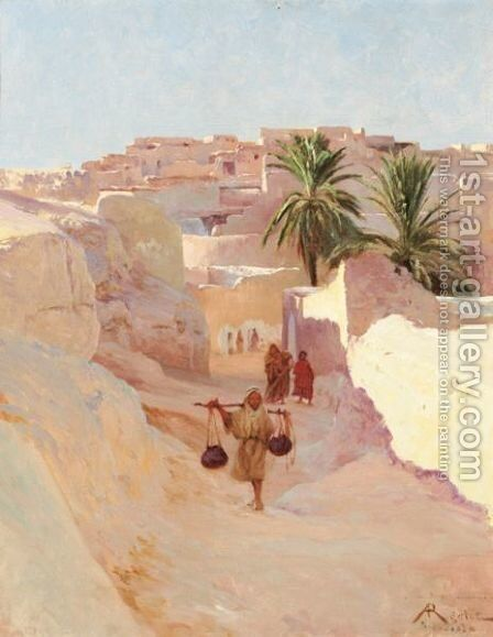 Personnages A Bou Saada by Albert Gabriel Rigolot - Reproduction Oil Painting