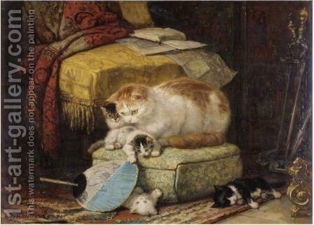 A New Hiding Place by Henriette Ronner-Knip - Reproduction Oil Painting