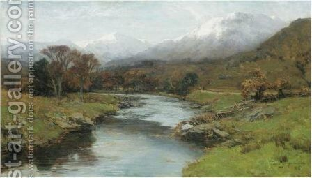A Scottish Glen With Snow Capped Peaks by David Farquharson - Reproduction Oil Painting