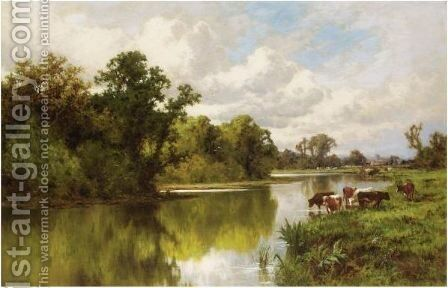 Cattle Grazing On The Thames by Henry Hillier Parker - Reproduction Oil Painting