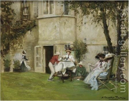 Tea In The Garden by Albert Chevallier Tayler - Reproduction Oil Painting