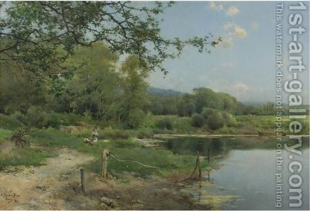 A Picnic On The Riverbank by Emilio Sanchez-Perrier - Reproduction Oil Painting