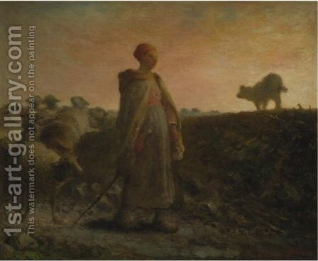 Shepherdess Returning With Her Flock by Jean-Francois Millet - Reproduction Oil Painting