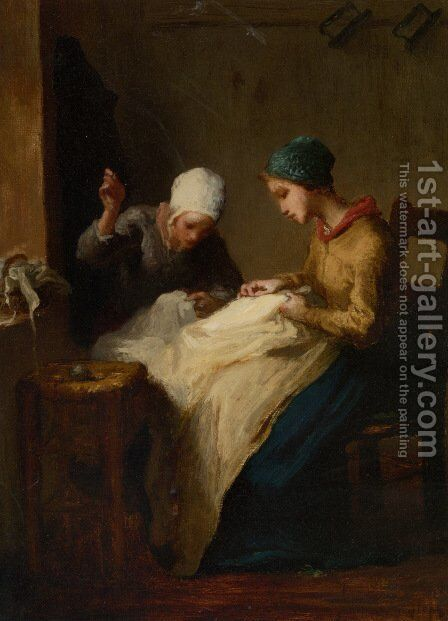 The Young Seamstresses by Jean-Francois Millet - Reproduction Oil Painting